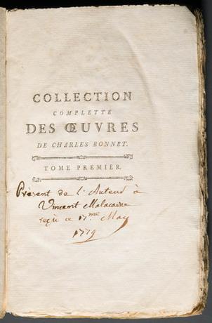 Nota di dono di Charles Bonnet a Vincenzo Malacarne