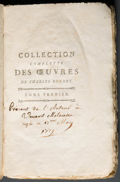 Note recording Charles Bonnet's gift of the volume in question to Vincenzo Malacarne