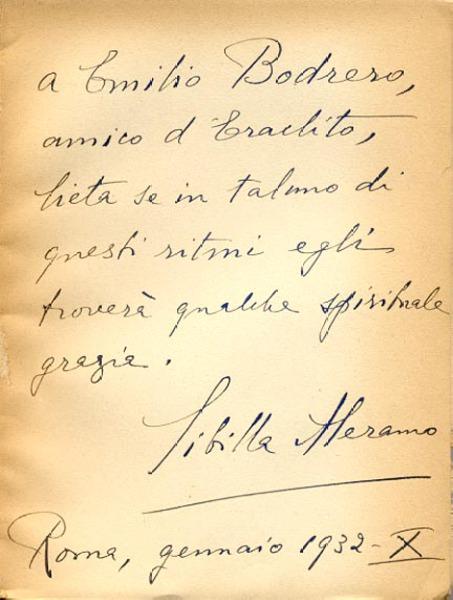 Poesie / Sibilla Aleramo. - Milano: Mondadori, 1929. Dedica manoscritta dell'autore