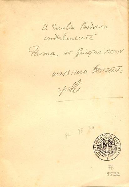 Egloghe / di Massimo Bontempelli. - Torino: R. Streglio & C., 1904. Dedica manoscritta dell'autore